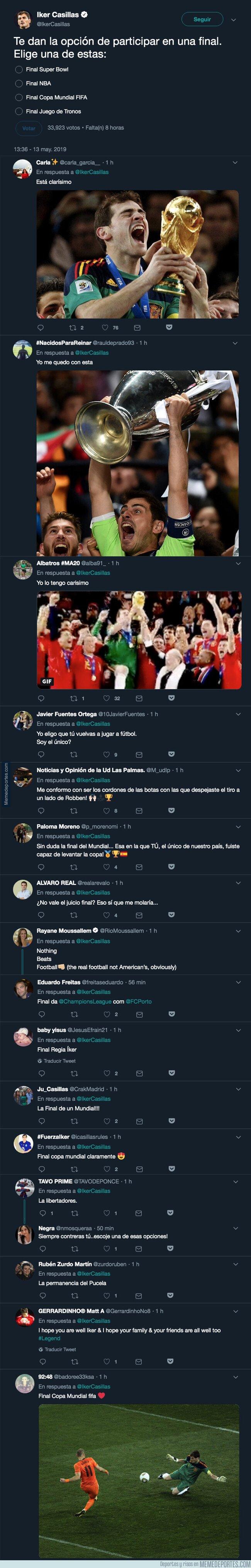 1074883 - Iker Casillas pone un reto en Twitter de elegir entre cuatro finales y la gente responde