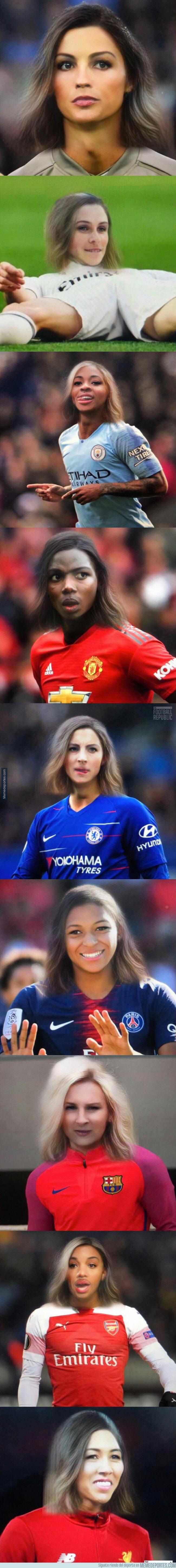 1074991 - Crean la versión femenina de los futbolistas más famosos con el filtro de snapchat que lo está petando
