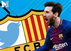 Enlace a El tuit del Barça donde retratan a todo el equipo a costa de alabar a Messi