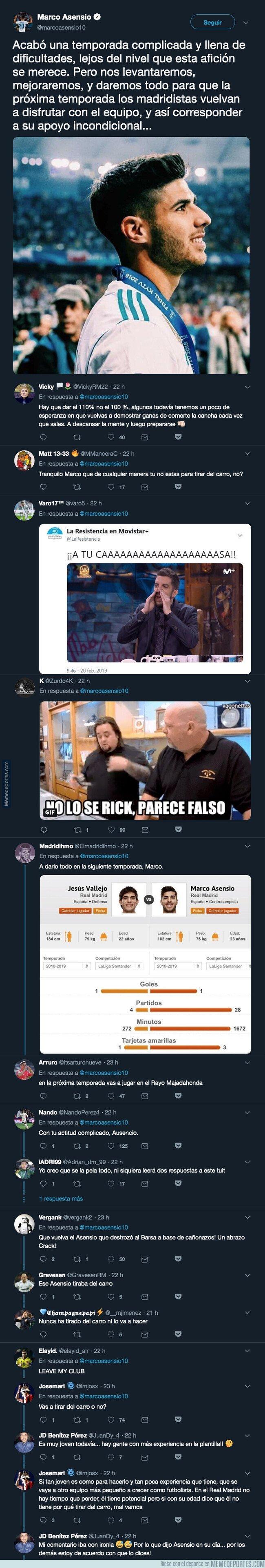 1075883 - Marco Asensio confirma que se queda en el Real Madrid y los madridistas responden sin piedad