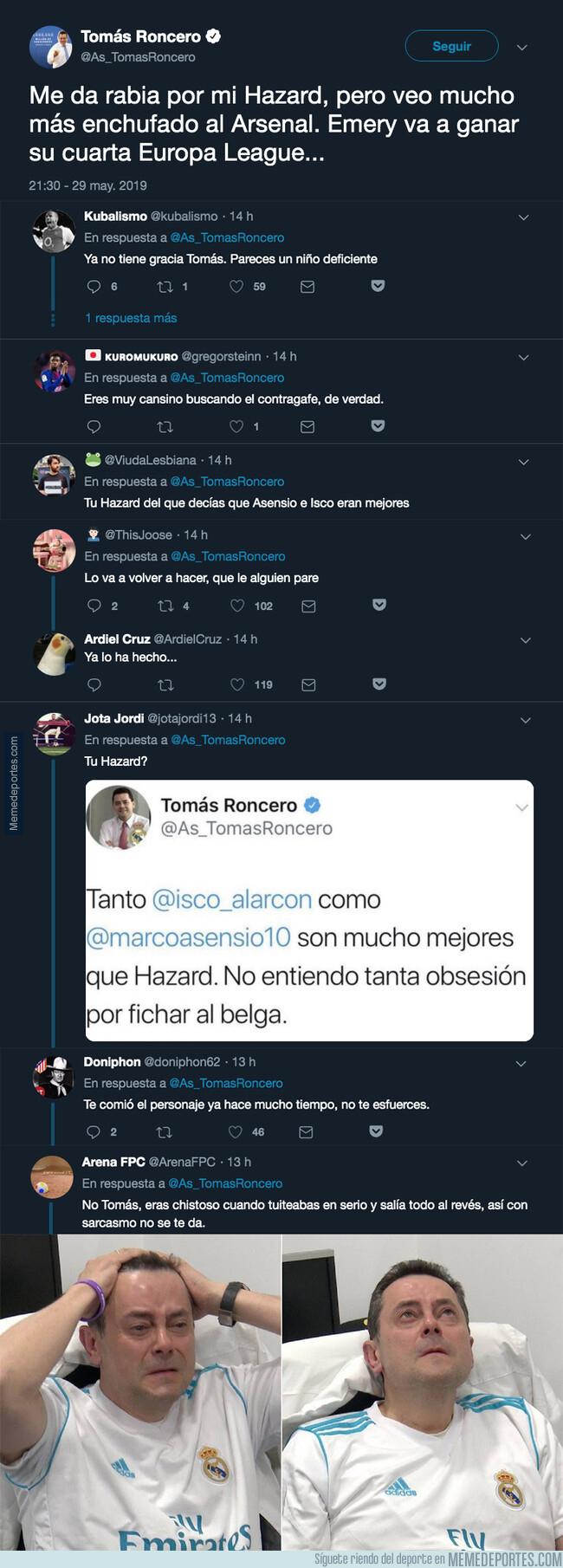 1076533 - Tomás Roncero gafa a propósito al Arsenal y la gente responde de la forma más cruel