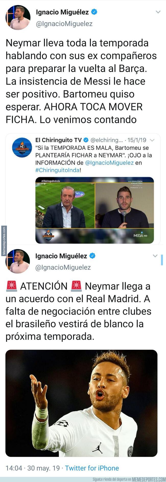 1076542 - Este es el nivel de este periodista de 'El Chiringuito' informando sobre Neymar en apenas 24 horas de diferencia