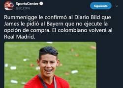 Enlace a James podría regresar al Madrid