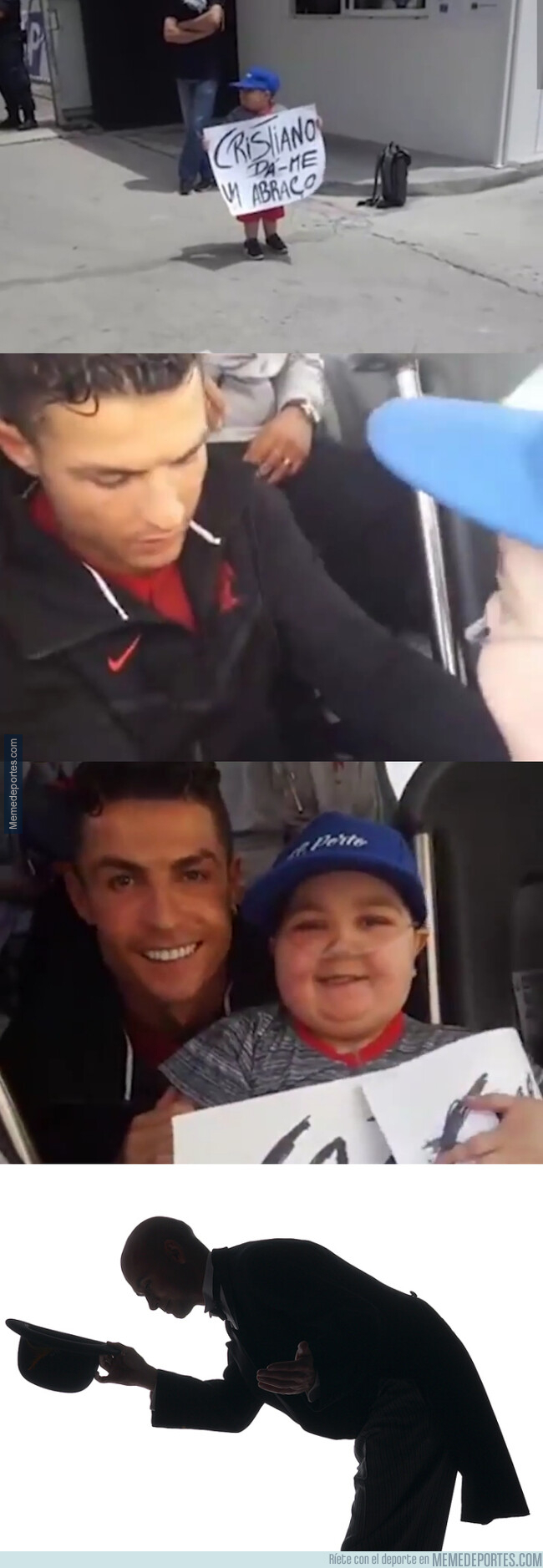 1077546 - Cristiano subió al autobús de Portugal a este chico que quería un abrazo suyo #Respect