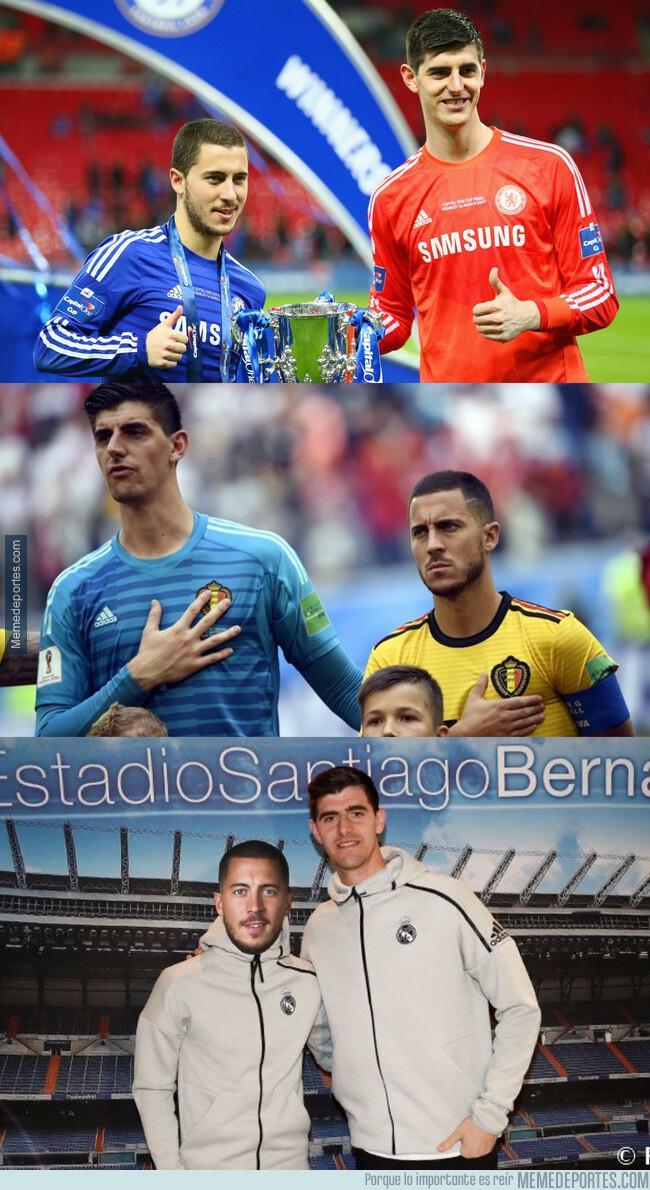 1077550 - Courtois y Hazard ya han compartido 3 camisetas diferentes