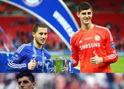 Enlace a Courtois y Hazard ya han compartido 3 camisetas diferentes