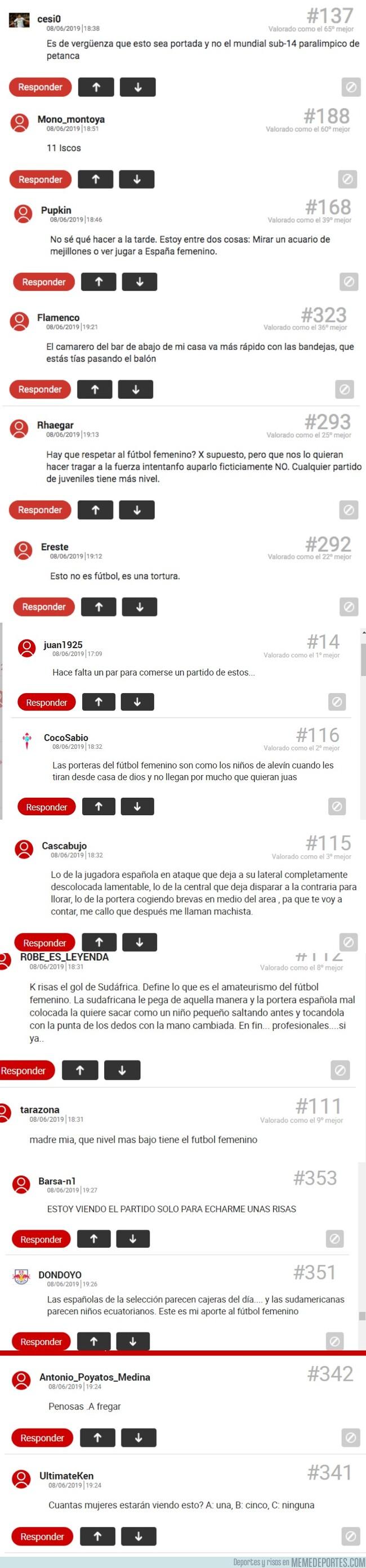 1077561 - Los comentarios en el MARCA sobre la selección femenina en el mundial dicen mucho de sus usuarios