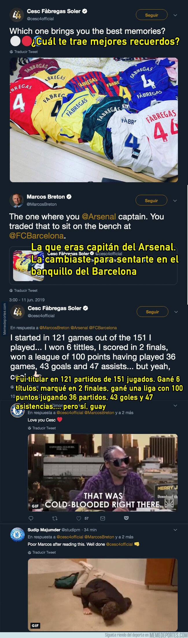 1077786 - Cesc Fábregas destroza a un periodista tras replicarle que cambió el Arsenal para estar en el banquillo del Barça