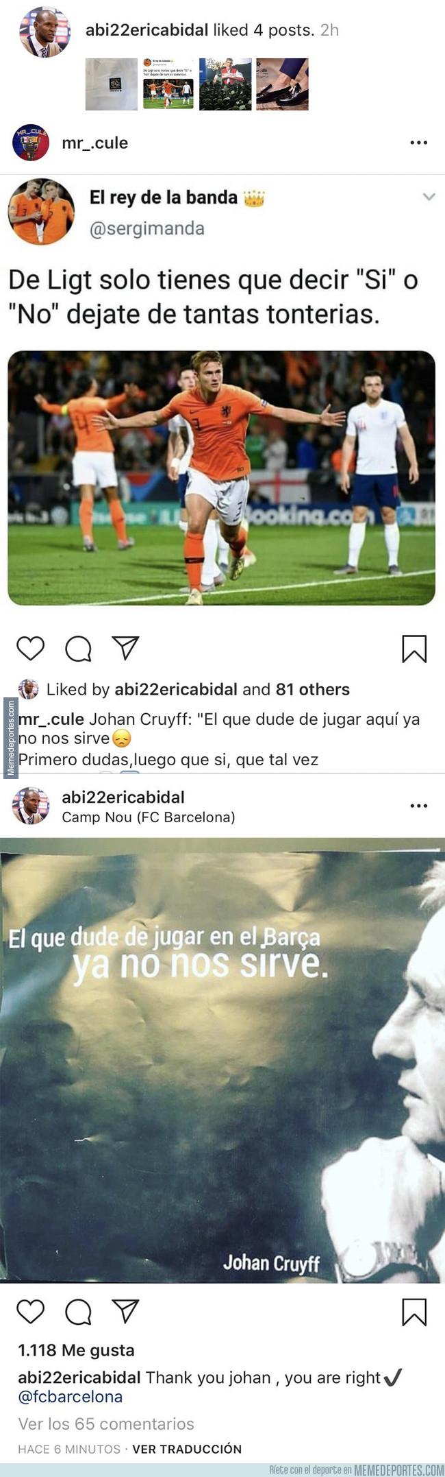 1077902 - El polémico 'like' en Instagram de Abidal sobre la decisión de De Ligt para firmar por el Barça