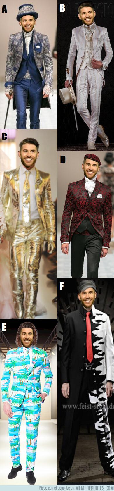 1078188 - Si tuvieras que elegir uno de estos modelitos para el traje de novio de Ramos, ¿cuál hubieses elegido?