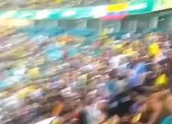 Enlace a Fanáticos colombianos peleando entre ellos en el Arena Fonte Nova. El buen fútbol sudamericano...