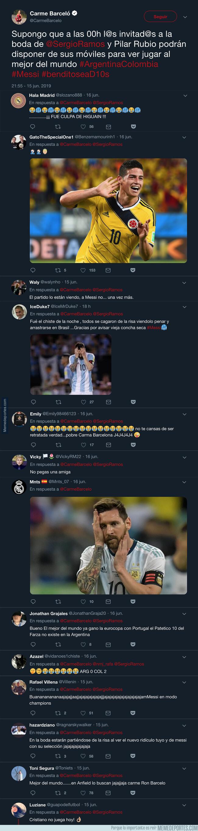 1078416 - Carme Barceló tuitea esto antes del Argentina - Colombia y termina haciendo el ridículo de su vida