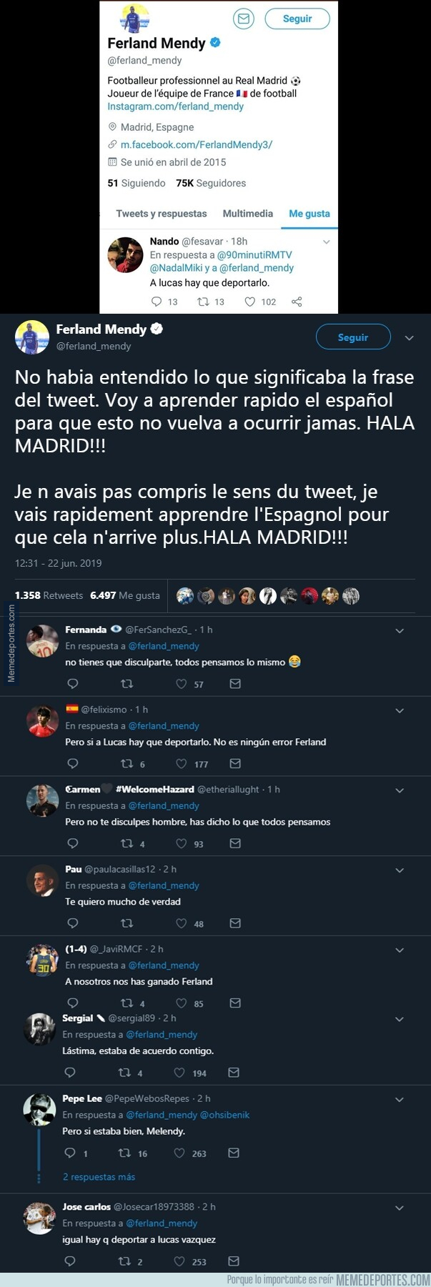 1078991 - La pequeña anécdota twittera que le pasó a Mendy por no saber español