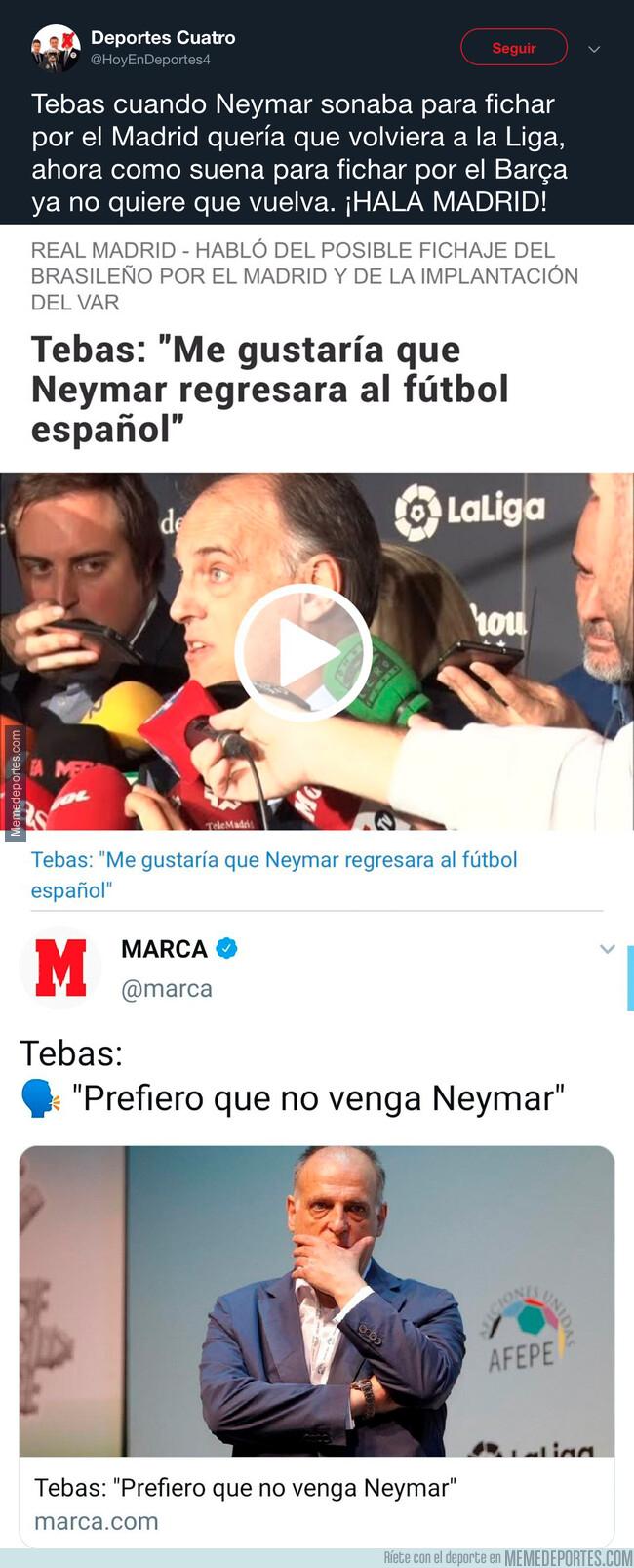 1079759 - El doble rasero de Tebas a la hora de opinar de Neymar según que equipo quiera ficharle