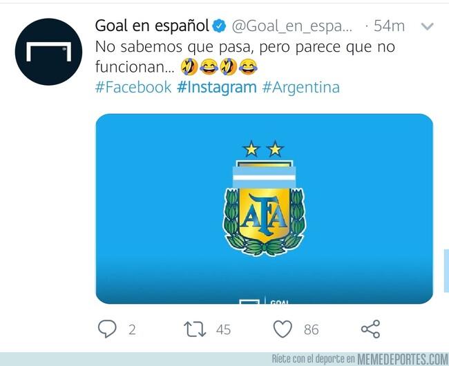 1080034 - La trolleada de Goal a la selección de Argentina aprovechando la caída de las redes