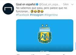Enlace a La trolleada de Goal a la selección de Argentina aprovechando la caída de las redes