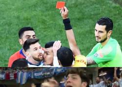 Enlace a Los argentinos le reprochan la expulsión a Messi