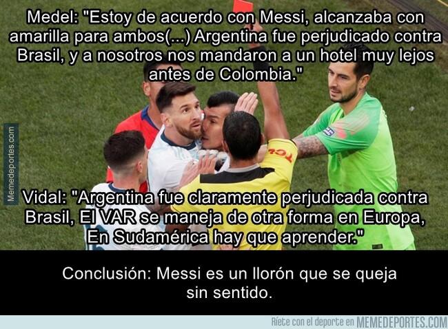 1080400 - Medel y Vidal le dan la razón a Messi respecto a la parcialidad arbitral en esta copa américa