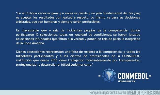 1080407 - La Conmebol le respondió a Messi, tachando de 'falta de respeto' lo que alegaba el Argentino