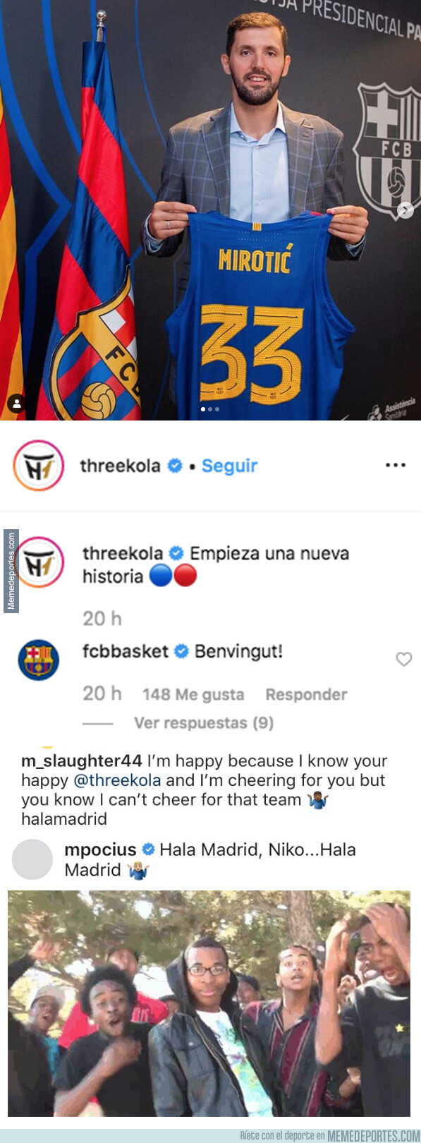 1080631 - Marcus Slaughter y Martynas Pocius le dan una lección de madridismo a Nikola Mirotic tras publicar una foto con la camiseta del Barça