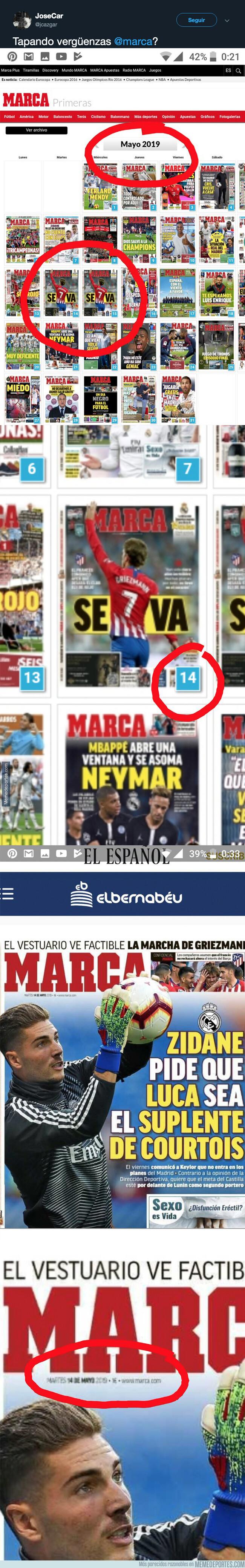 1080641 - Pillan al diario MARCA eliminando esta portada de su archivo al no acertar con una información