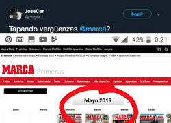 Enlace a Pillan al diario MARCA eliminando esta portada de su archivo al no acertar con una información