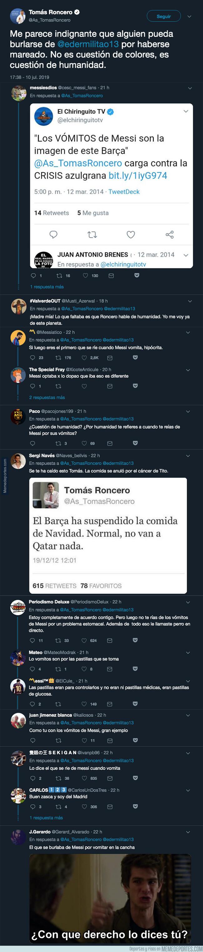 1080796 - Tomás Roncero intenta dar una lección a todos por reírse de Militao al marearse y recibe unas respuestas antológicas
