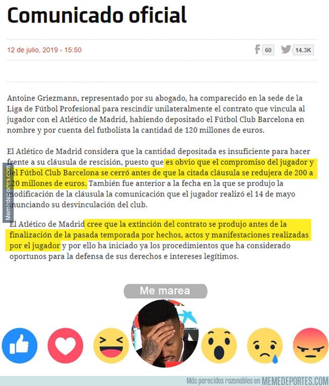 1080887 - Ahora el Atleti demanda al Barça por fichar a Griezmann por 80 millones de euros menos