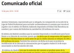 Enlace a Ahora el Atleti demanda al Barça por fichar a Griezmann por 80 millones de euros menos