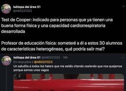 Enlace a Un usuario de Twitter recuerda el famoso Test de Cooper y las respuestas de aquella prueba son para mearte de la risa