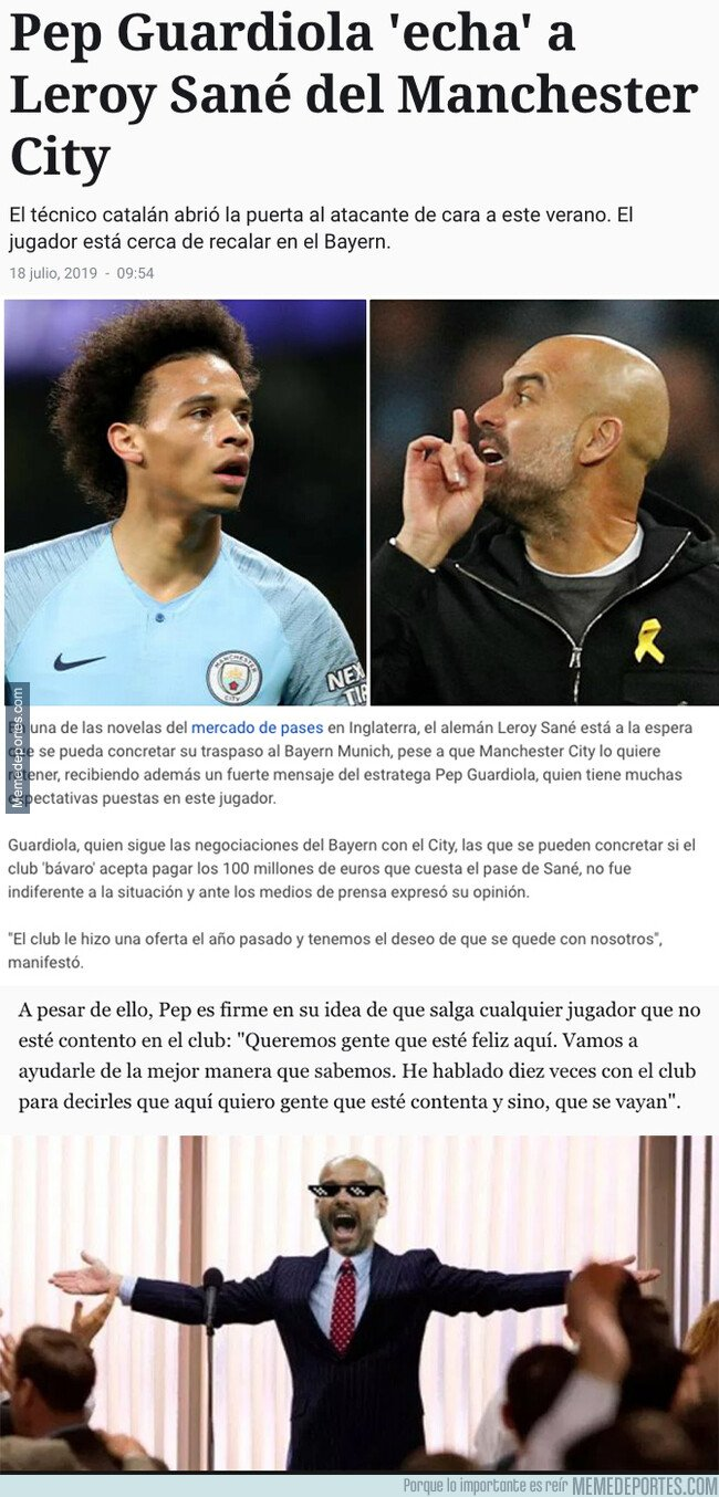 1081418 - El duro mensaje de Guardiola contra Sané en el que le echa del Manchester City