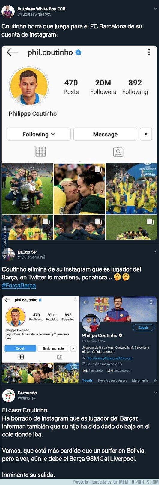 1081477 - El detalle de Coutinho en sus redes sociales que deja claro que se aleja del Barça de forma inminente