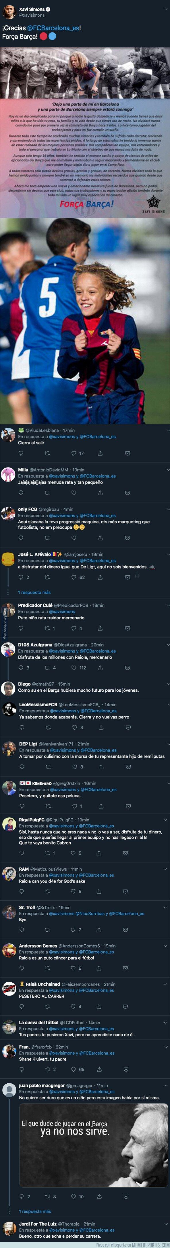 1081781 - El joven Xavi Simons anuncia que abandona el Barça y su cuenta de Twitter se peta de mensajes llenos de odio hacia él