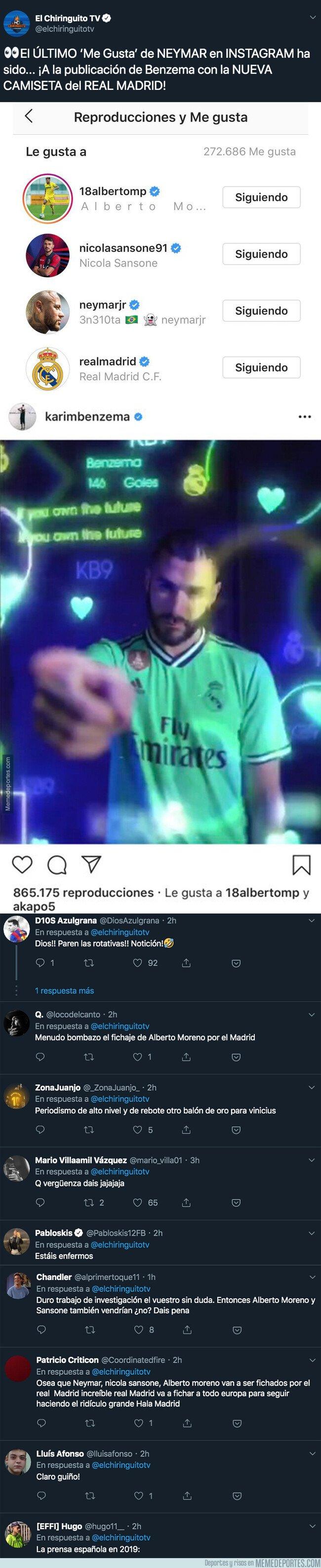 1082283 - El último 'like' de Neymar en instagram que ha puesto en alerta a los madridistas por un posible guiño