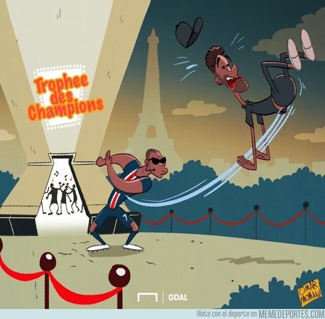 1082744 - Mbappé empujó a Neymar de la celebración del PSG, por @goalglobal