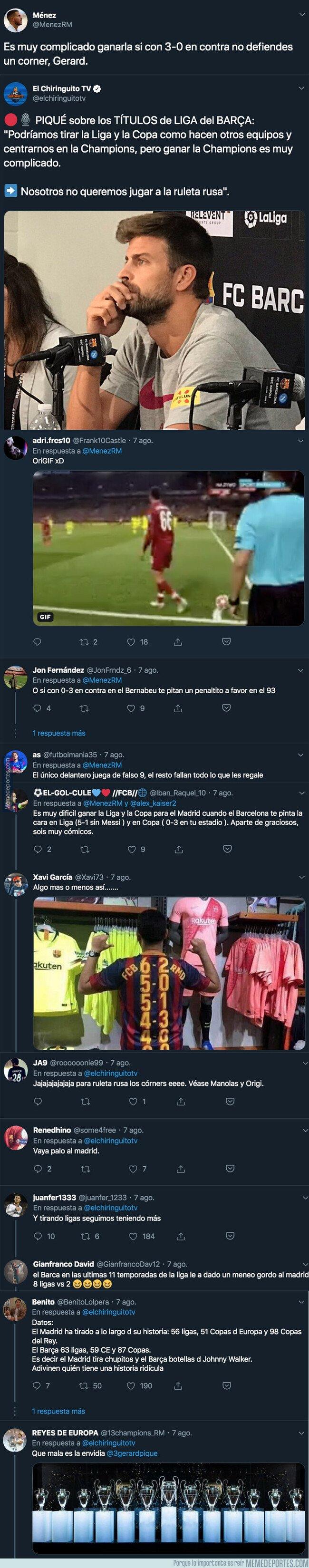 1083068 - Gerard Piqué deja en el aire que el Real Madrid juega a la ruleta rusa y un tuitero le deja totalmente KO con esta respuesta