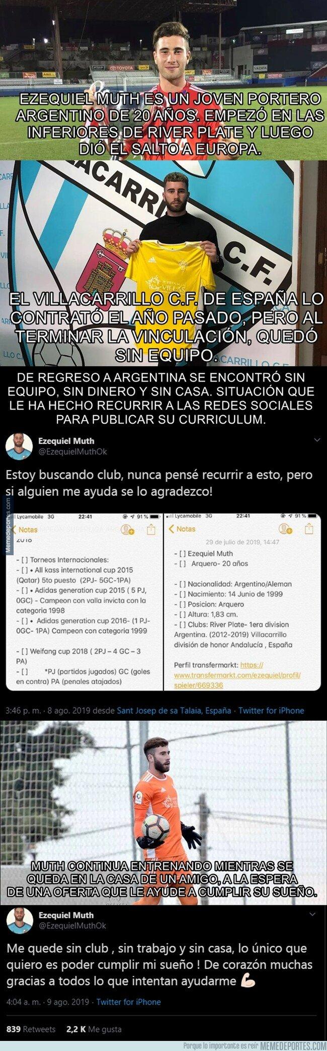 1083159 - El caso de un portero argentino que le tocó pedir ayuda en las redes para buscar equipo