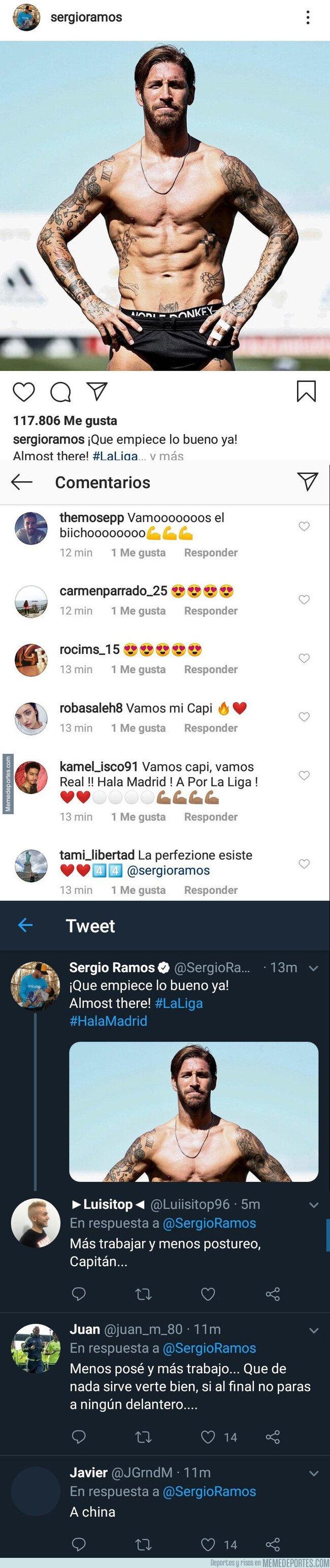 1083536 - Sergio Ramos sube esta foto marcando musculitos y esta es la diferencia de comentarios que recibe en Instagram y en Twitter