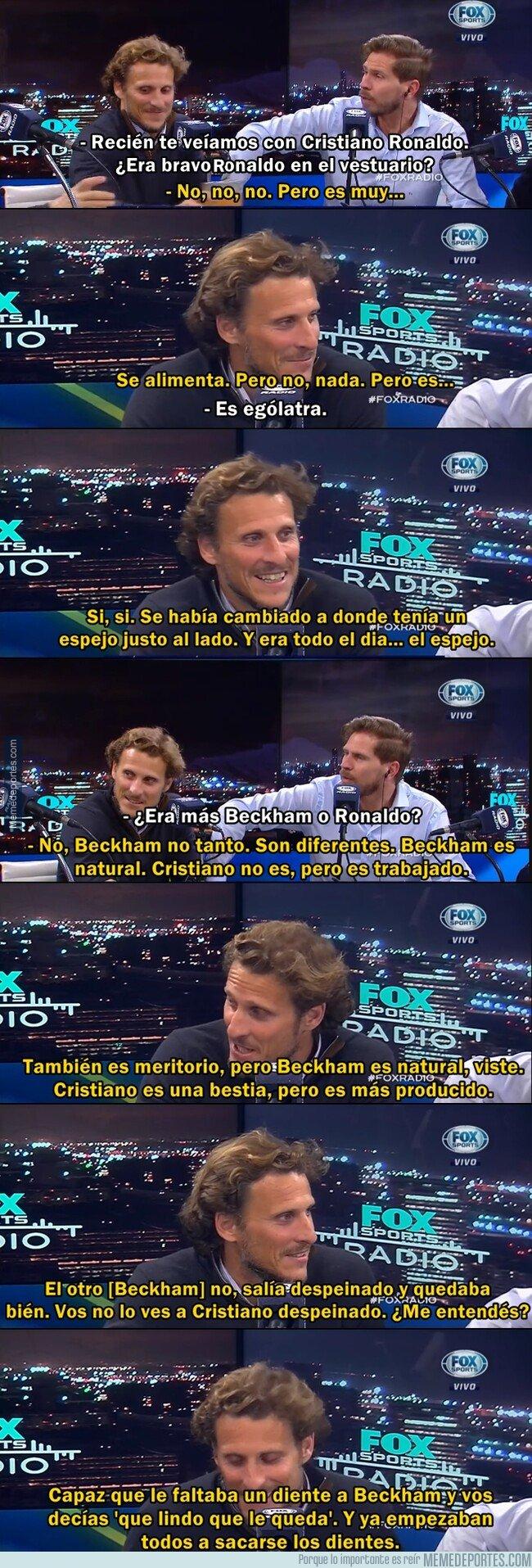 1083706 - La graciosa diferencia entre la belleza de Beckham y Cristiano según Forlán.