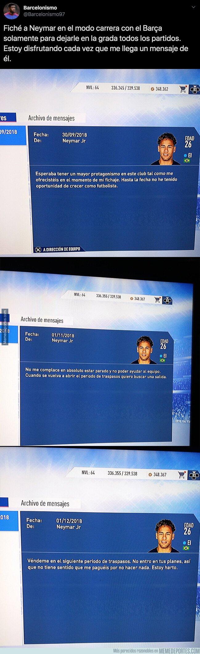 1083911 - Un aficionado del Barça ficha a Neymar en el modo carrera del FIFA para sentarle en el banquillo y así termina la historia
