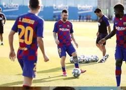 Enlace a Culés cuando ven que Messi vuelve a entrenar con sus compañeros