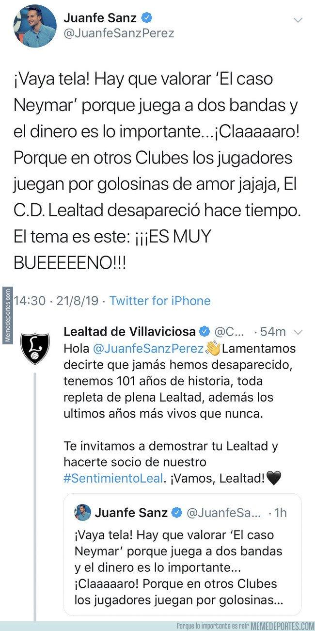 1083982 - El árbitro Juanfe Sanz habla de 'lealtad' y Neymar y se lleva un revés del equipo CD Lealtad que no se esperaba