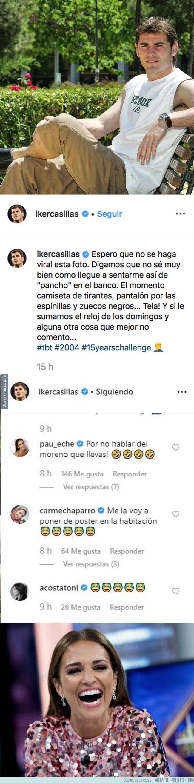 1084017 - Paula Echevarría trolea a Casillas poniéndole este comentario a una foto de Casillas de hace 15 años