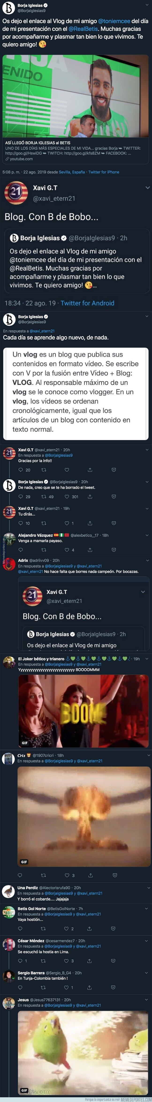 1084079 - Un aficionado del Espanyol insulta a Borja Iglesias por una supuesta falta de ortografía y él le deja por los suelos con la respuesta