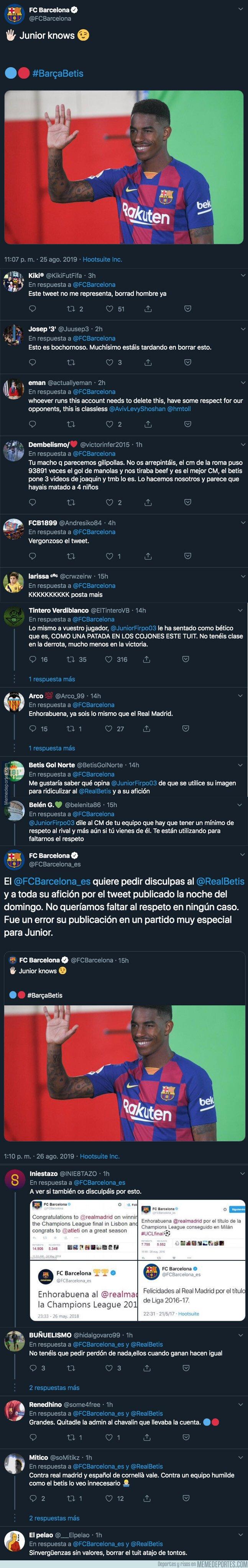 1084270 - El Barça ha tenido que salir a pedir perdón por este tuit que escribieron con la imagen de Junior Firpo tras ganar 5-2