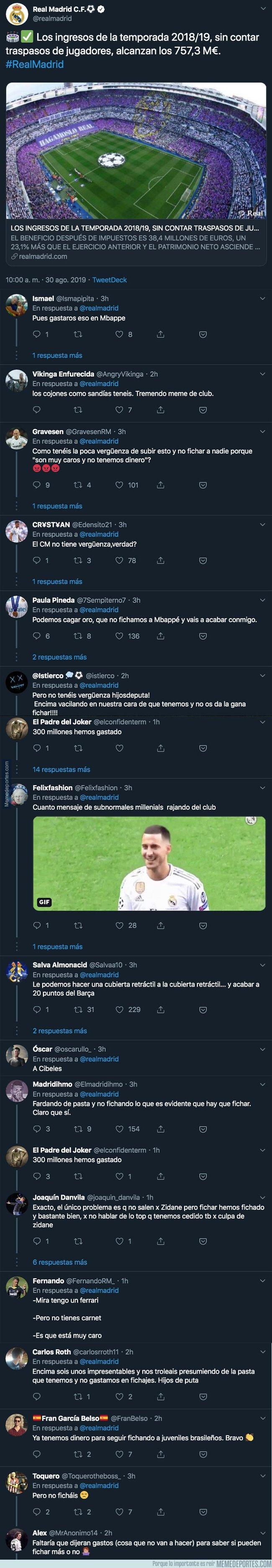 1084549 - El Real Madrid informa de los ingresos que tienen y todos los madridistas se les echa encima en Twitter con respuestas sin piedad