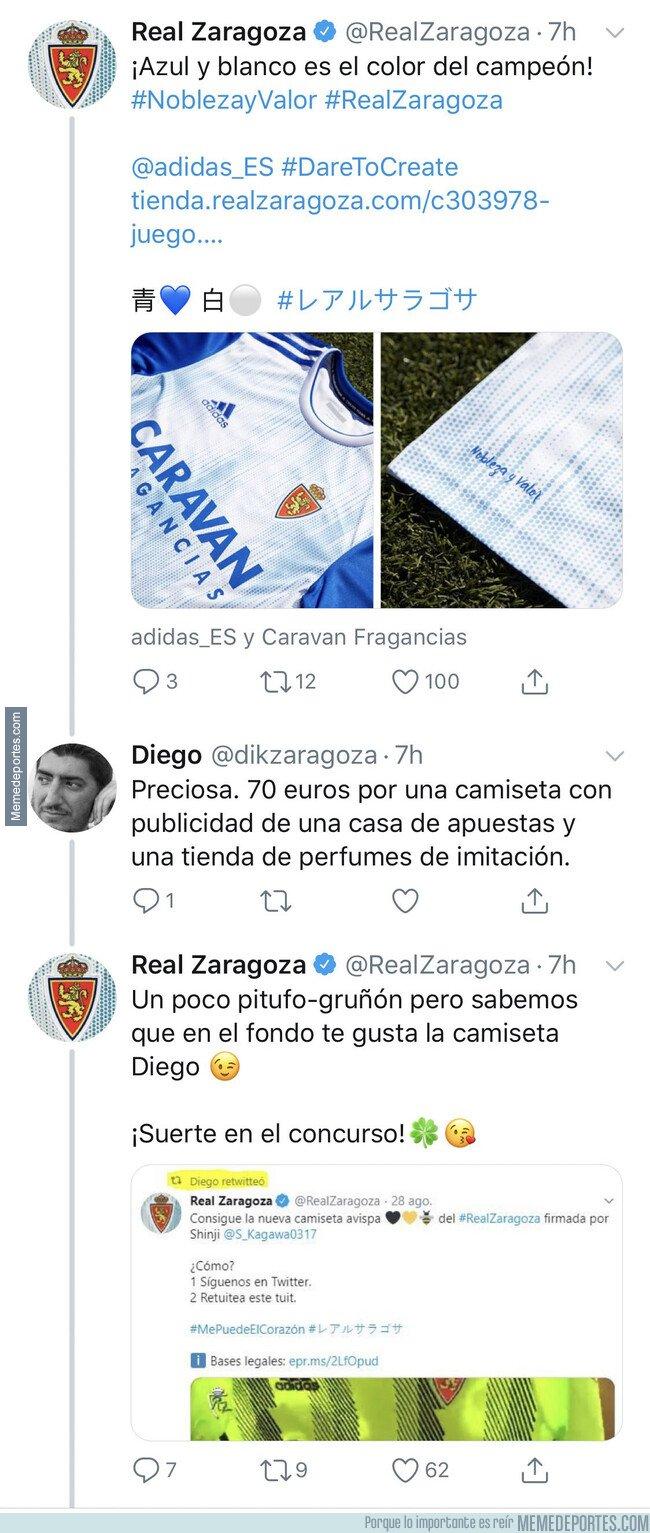 1084743 - Un aficionado del Zaragoza se queja de la camiseta por estos detalles y el club le deja por los suelos
