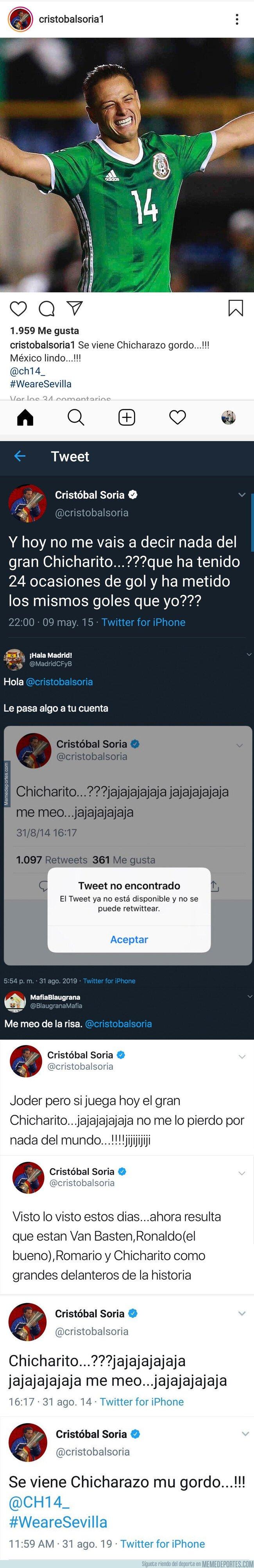 1084749 - Estos son todos los tuits de Cristóbal Soria que ha borrado sobre Chicharito tras su fichaje por el Sevilla