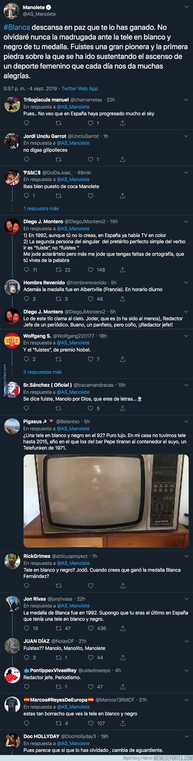 1085015 - El mensaje de Manolete hacia la fallecida Blanca Fernández Ochoa por el que todo el mundo se está cachondeando por la locura que ha escrito