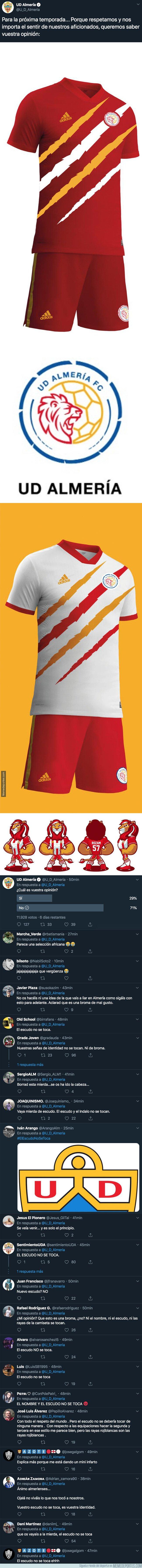 1085055 - Lío monumental: Turki, el dueño del Almería ha propuesto cambiar el escudo del club y la equipación y todo el mundo se está rebelando en las respuestas
